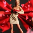 Beautiful woman wearing red ribbon - Stockfoto