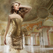 Fine art photo of young fashion lady in stylish interior — Stock Photo #5191199