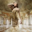 Fine art photo of a young fashion lady in a stylish interior — 图库照片