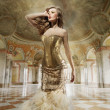 Fine art photo of a young fashion lady in a stylish interior — Stock fotografie