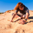 Girl playing with sand 2 — Stock Photo