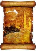 Wieża na stary pergaminu — Zdjęcie stockowe