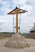 Christian cross before temple — Stock Photo