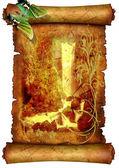 бабочка на пергаменте с водопадом — Стоковое фото
