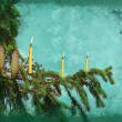Branch fir tree with candle — Stock Photo