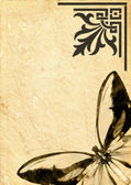 Butterfly on old vellum — 图库照片