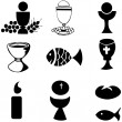Set of Illustration of a communion depicting traditional Christian symbols - Stock Vector