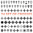 Set Crosses Christan vector. various religious symbols — Stock Vector