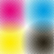 Halftone CMYK vector illustration background - Stock Vector