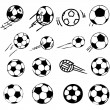 Stock Vector: Vector soccer ball set comic cartoon illustration