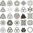 Set of symbols icons vector. Tattoo design set. — Vector de stock
