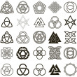 Set of symbols icons vector. Tattoo design set. — Stock vektor
