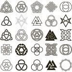 conjunto de vetores de ícones de símbolos. conjunto de design tatuagem — Vetorial Stock