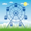 Stock Vector: Ferris wheel vector illustration. Amusement park cartoon.