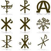 Christan vector instellen verschillende religieuze symbolen — Stockvector