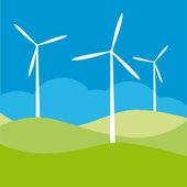 Windmill on the field vector illustration cartoon — Stock Vector