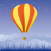 Hot air balloon in the blue sky — Stock Vector
