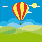 Globo de aire caliente en el cielo azul — Vector de stock
