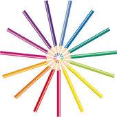 Tužky různé barvy pro kreslení, vektorové ilustrace — Stock vektor
