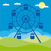 Ferris wheel vector illustration. Amusement park cartoon. — Stock Vector