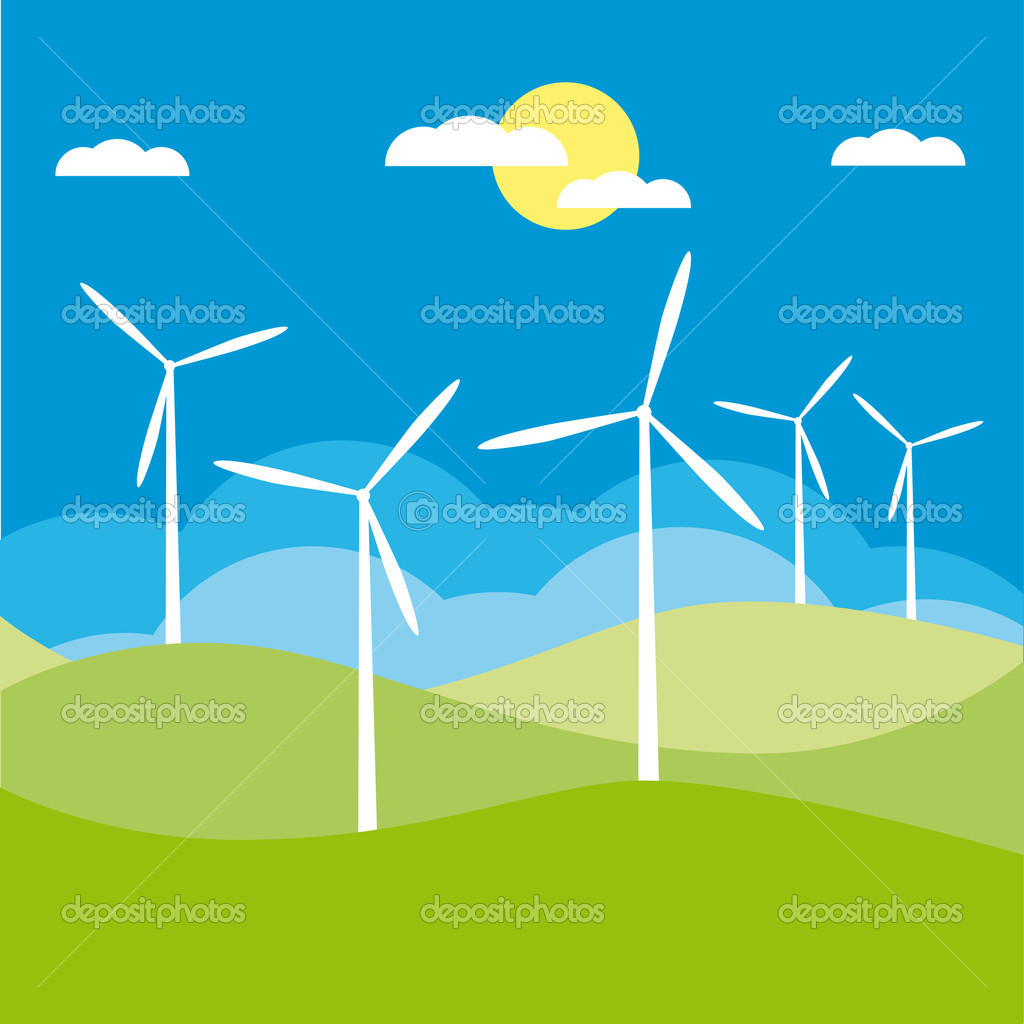 Windmill on the field vector illustration cartoon — Stock Vector #3272591