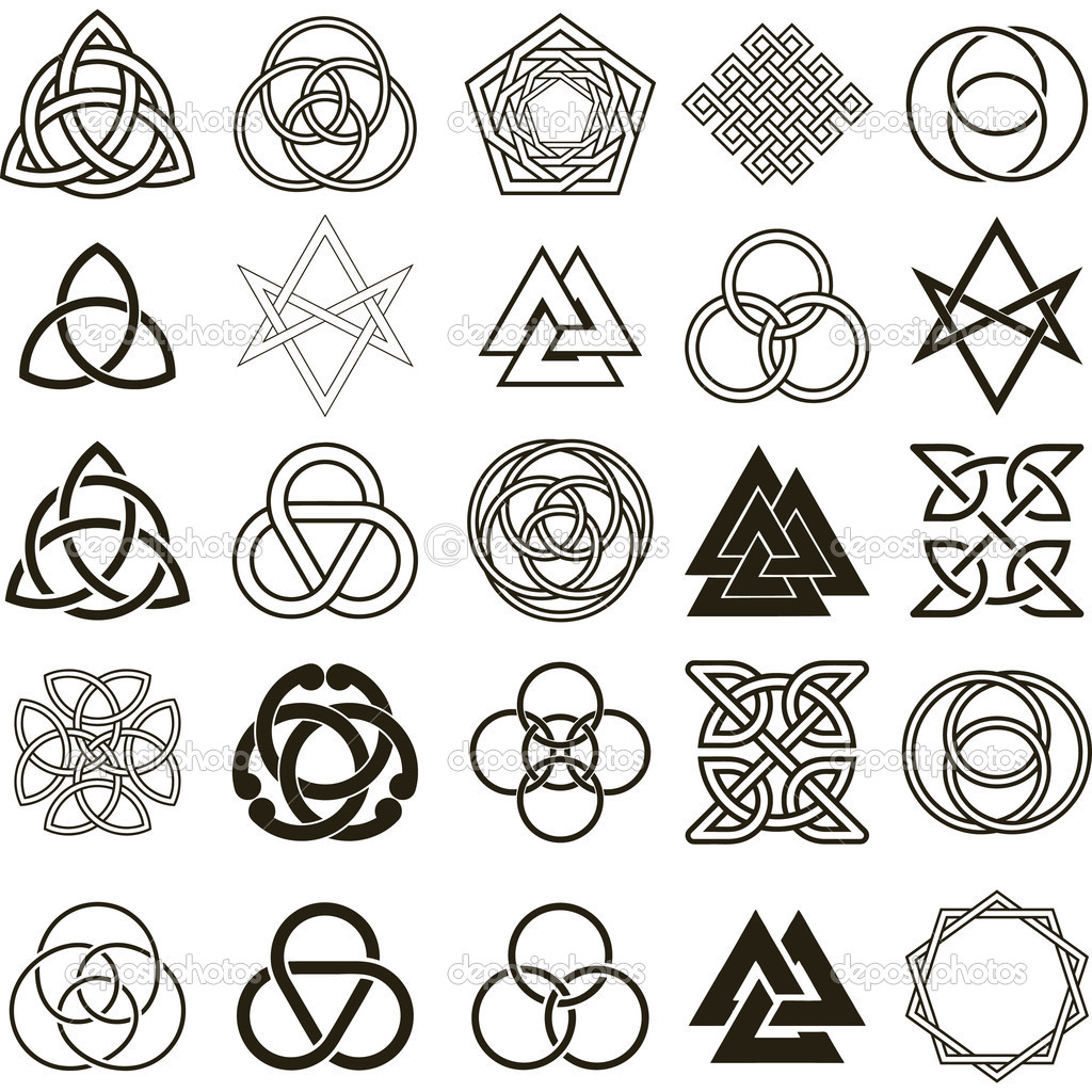 Set of symbols icons vector. Tattoo design set. - Stock Illustration