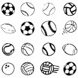 Vector sport ball set comic cartoon illustration — Stock Vector #3284286