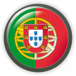 Portugal, drapeau de bouton brillant vector illustration — Vecteur