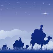 Wisemen silhouette cartoon vector illustration — Stock Vector