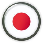 Japon, drapeau bouton brillant vector illustration — Vecteur