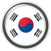 Korea shiny button flag vector illustration — Stock Vector