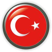 Turkey, shiny button flag vector illustration — Stock Vector