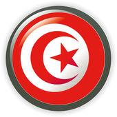 TUNISIA, shiny button flag vector illustration — Stock Vector