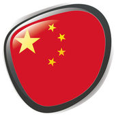 Button illustration of China flag — Stock Vector