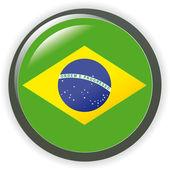 Brazil, shiny button flag vector illustration — Stock Vector