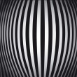 Op Art Bulging Vertical Stripes Black and White One - Stock Vector