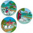 Vector - Rural landscape with farm animals — Stock Vector