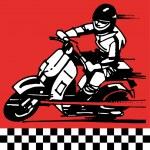 Moto scooter motocycle retro vintage — Stock Vector