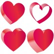 Set of Hearts Vector Illustration — Stock Vector