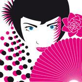 Ilustração do vetor de olhos do rosto de mulher — Vetor de Stock