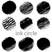 A set of grunge vector circle brush strokes — Stock Vector