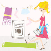 Housewife vector illustration — Stock Vector