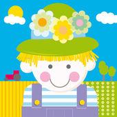 Farm girl cartoon vector illustration — Stock Vector