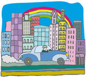 Panorama city with car vector illustration — Stock Vector