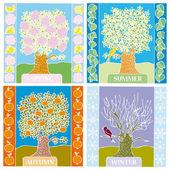 Paisagem de verão diferentes estações do ano, inverno, Primavera, outono — Vetor de Stock