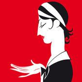 Vector cartoon portrait of chambermaid. — Stock Vector