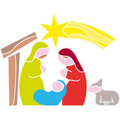 Nativity Holy night, bethlehem. Vector illustration — Stock Vector