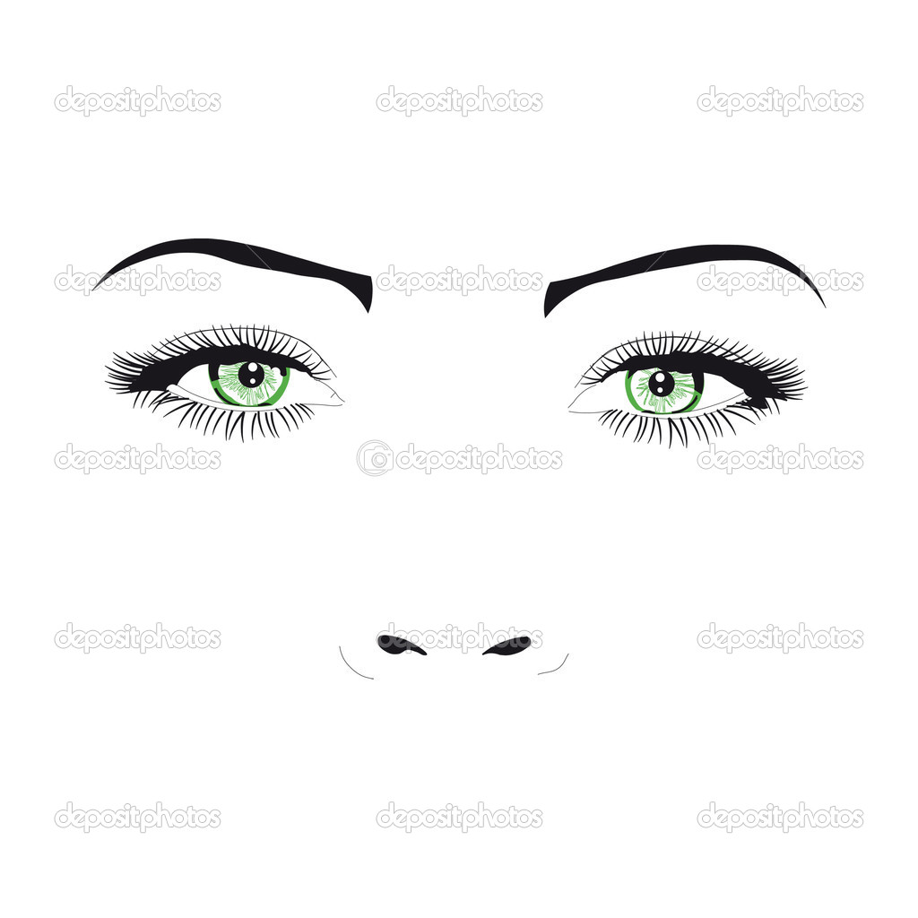 女人的脸眼睛矢量图