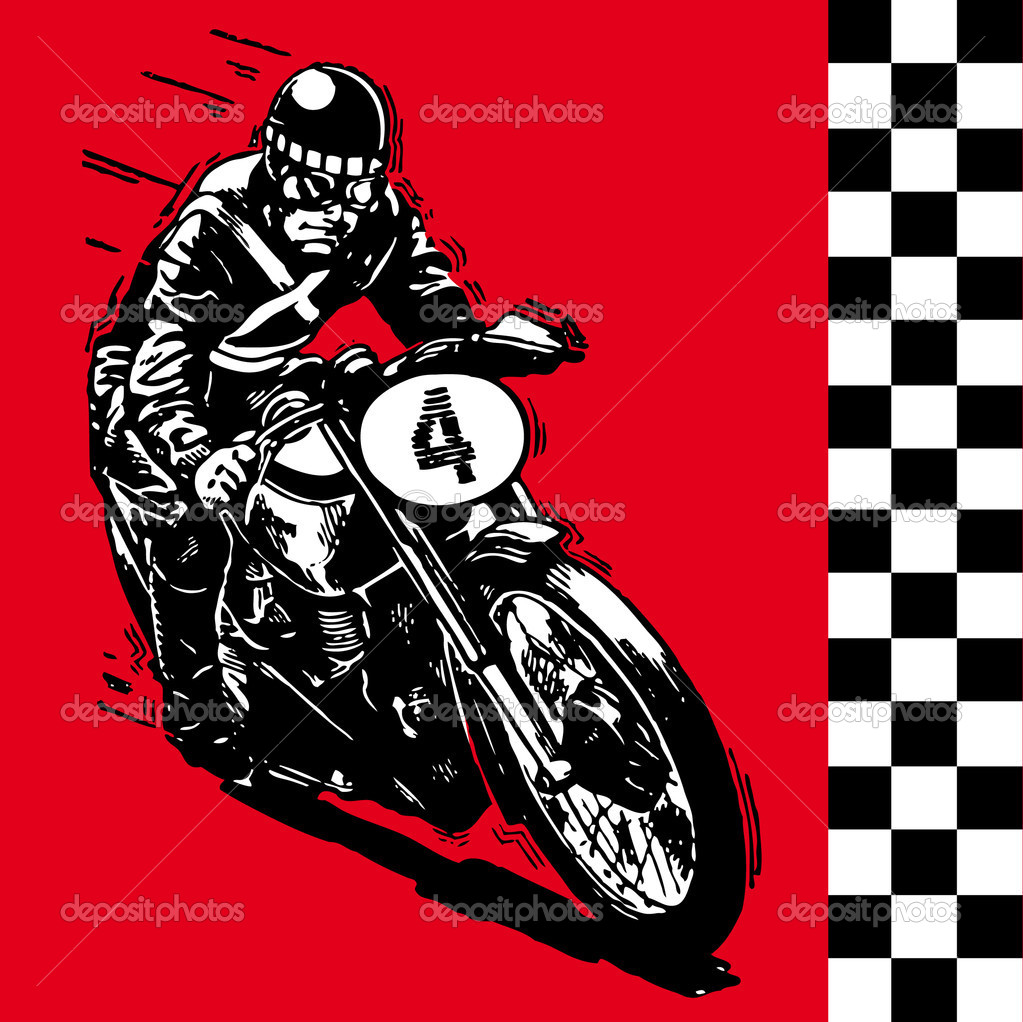 Moto motocycle retro vintage classic vector illustration — Stock Vector #3405589