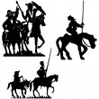 Don Quijote vector silhouettes. Don Quixote. — Stock Vector